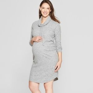 Isabel Maternity Gray Cowl Neck Sweater Dress